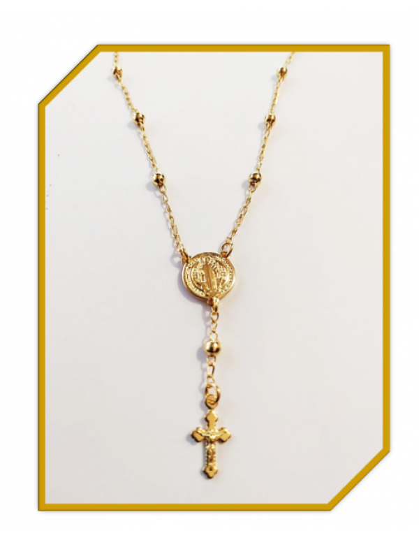 18kt Gold Filled one Decade St Benedict Rosary Necklace