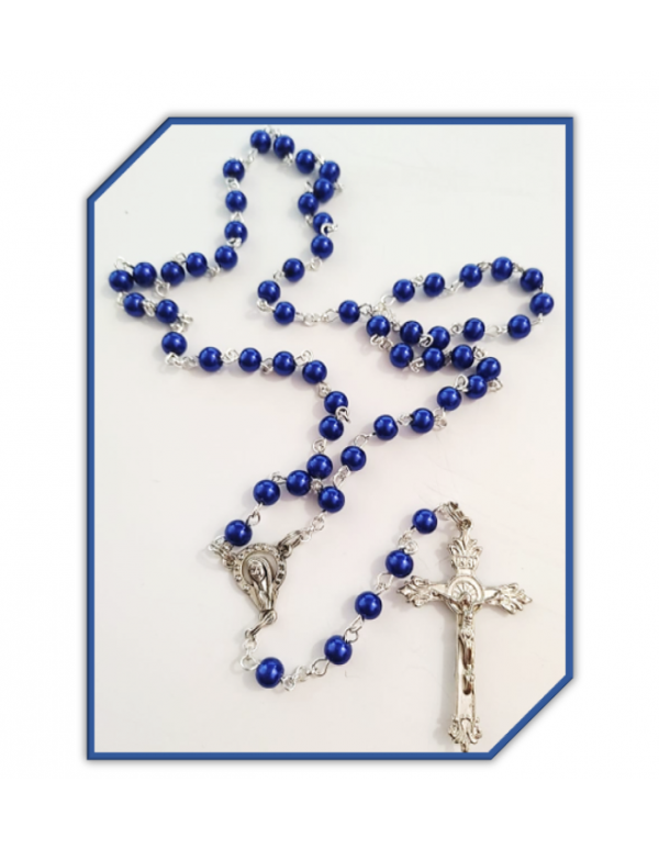 Rosary in Royal Blue faux Glass Pearls