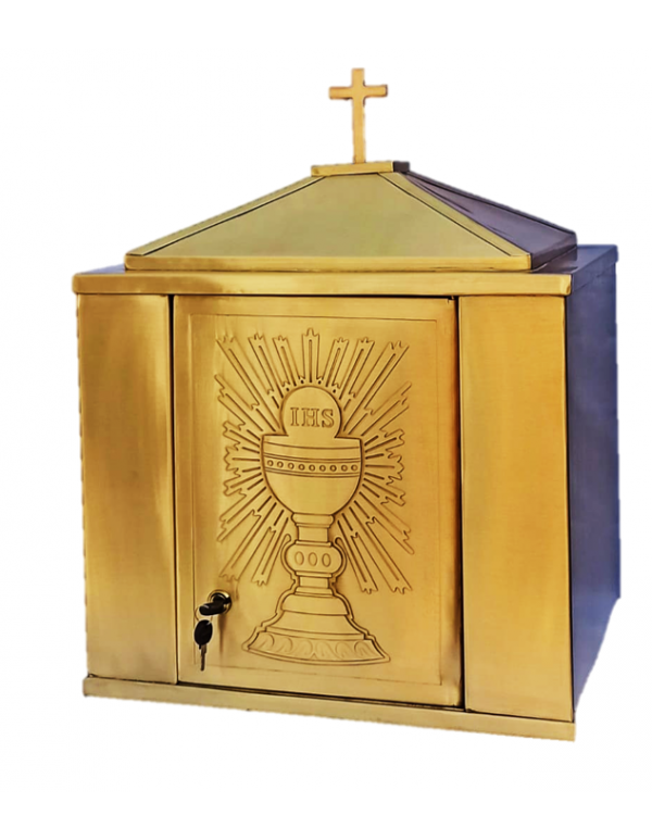 Solid Brass Tabernacle - 40 L X 30 W X 50cm H - Chalice & Eucharist Design