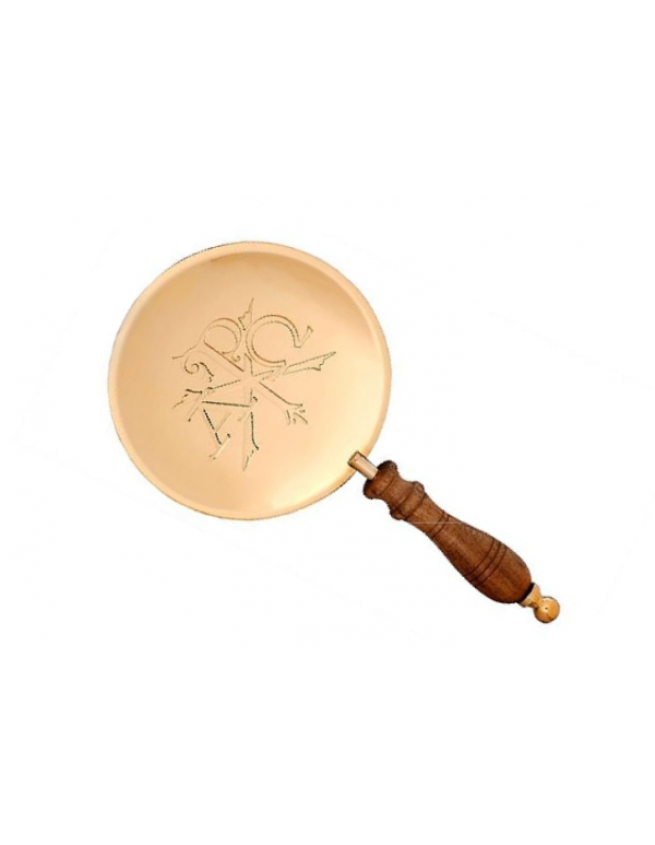 Alpha & Omega / PX - Solid Brass Paten with wooden Handle
