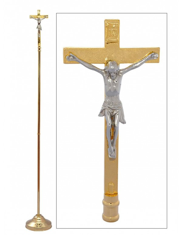 2meter Processional Crucifix in Brass with Stainless Steel plated Corpus