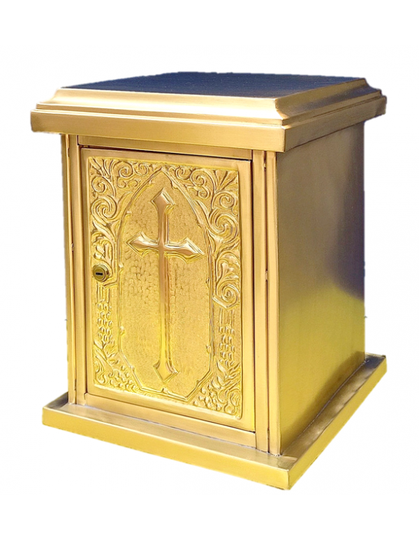Solid Brass Tabernacle - 30 x 30 x 40cm - Cross Design