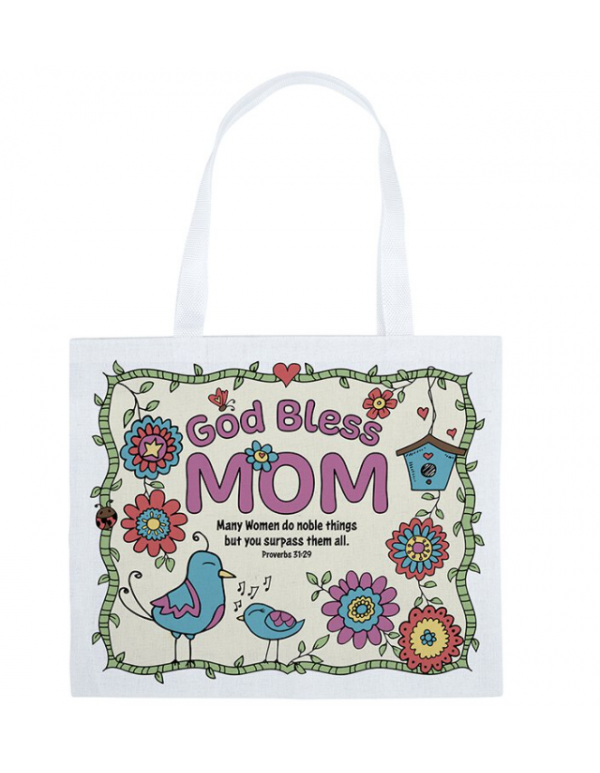 Color-Your-Own God Bless Mom Tote Bag