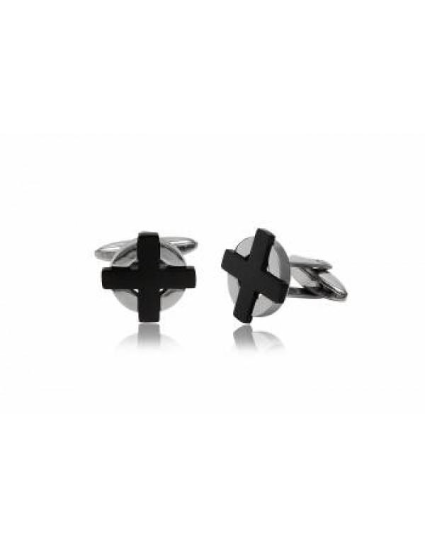 Stainless steel cufflinks with Rhodium plated cross