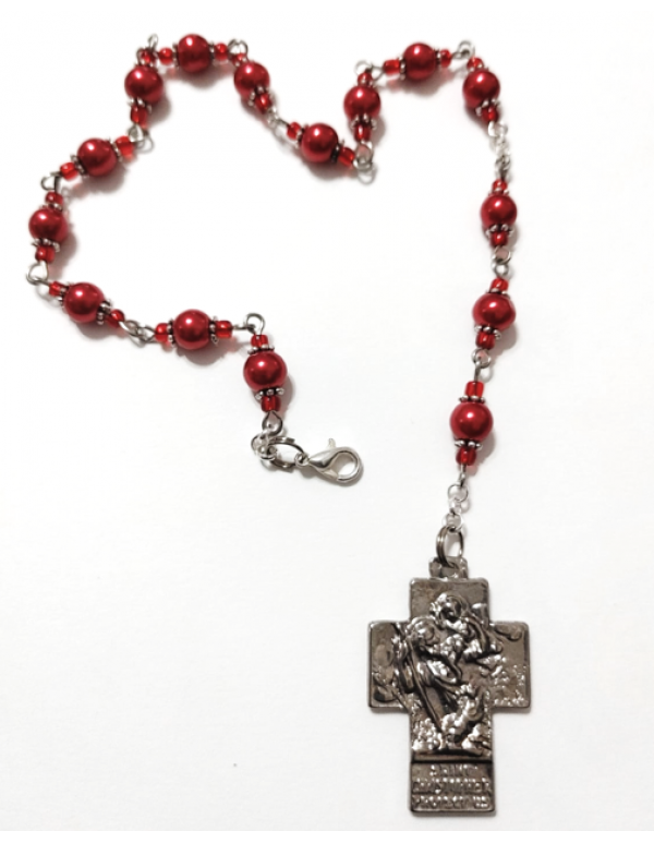 St Christopher Car - Auto Chaplet - Red
