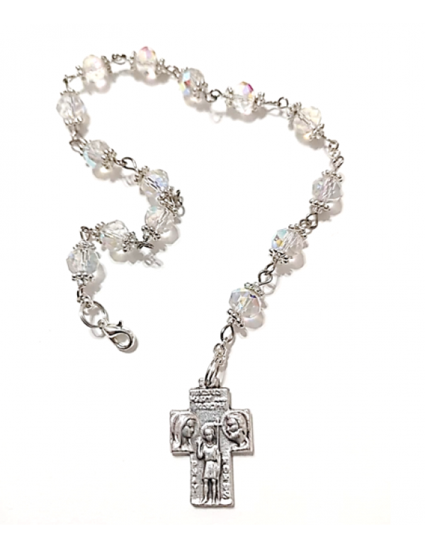 Austrian Crystal clear Glass St Christopher Chaplet