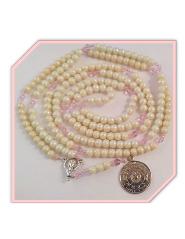1000 Thank You's - Miraculous Rosary in Pitted White faux glass pearls