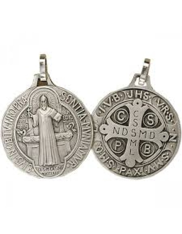 18mm Sterling Silver St Benedict Pendant / Medal