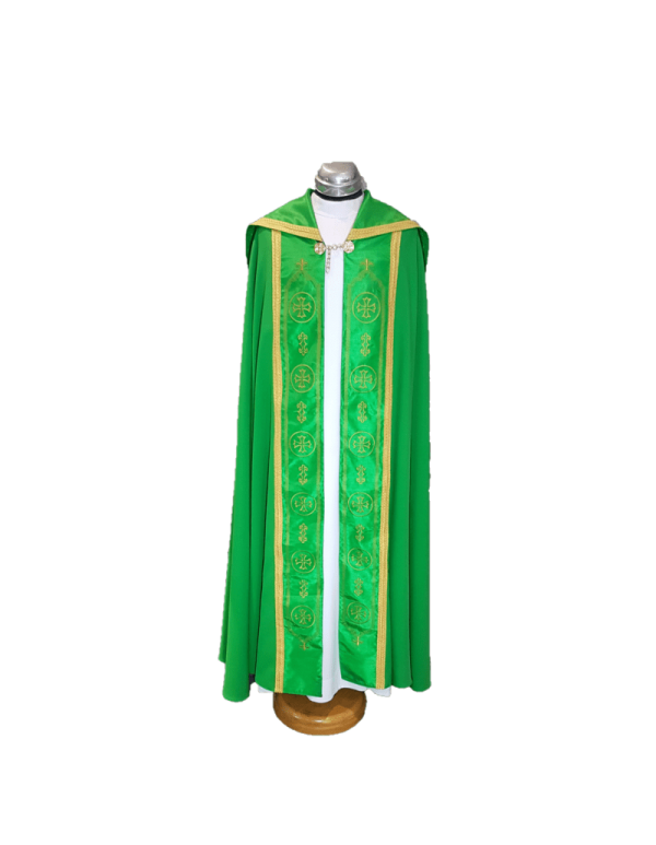 Green Classic Cope with cross in gold
