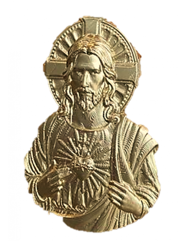 Wooden Tabernacle With Jesus Sacred Heart Relief In Gold