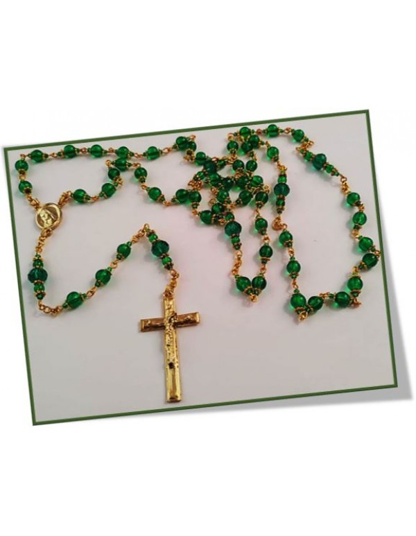 Birthstone Rosary - Emerald May in gold