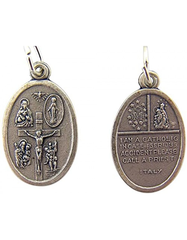 5 way oval medal with crucifix - 2cm