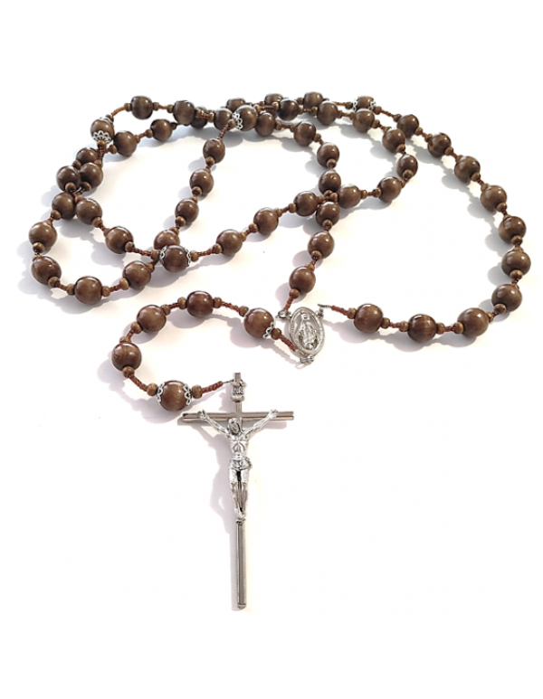 Large medium brown Wood Wall Rosary - 15mm Bead