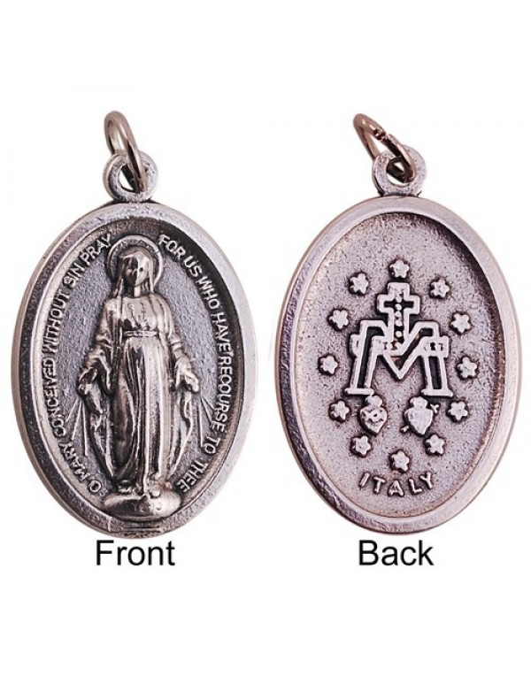 33mm Large Miraculous Medal in silver