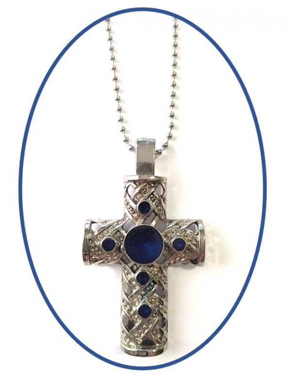 Pectoral Cross - 8cm With Blue Inlay & 60cm Ball Chain