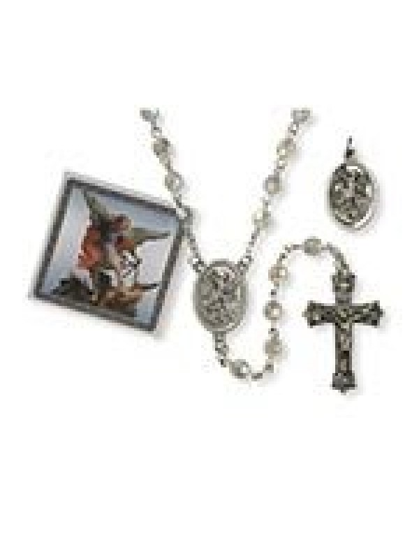 St Michael the Archangel Rosary, Medal & Prayer Card in Gift Box