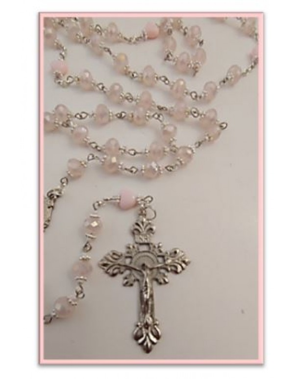 Pink Opal Crystal with hearts Rosary