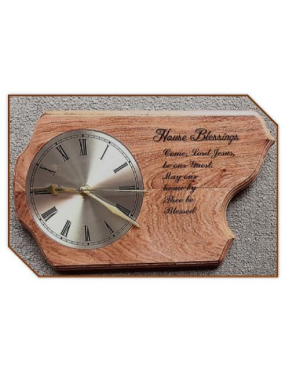 Wooden Wall Clock - House Blessing