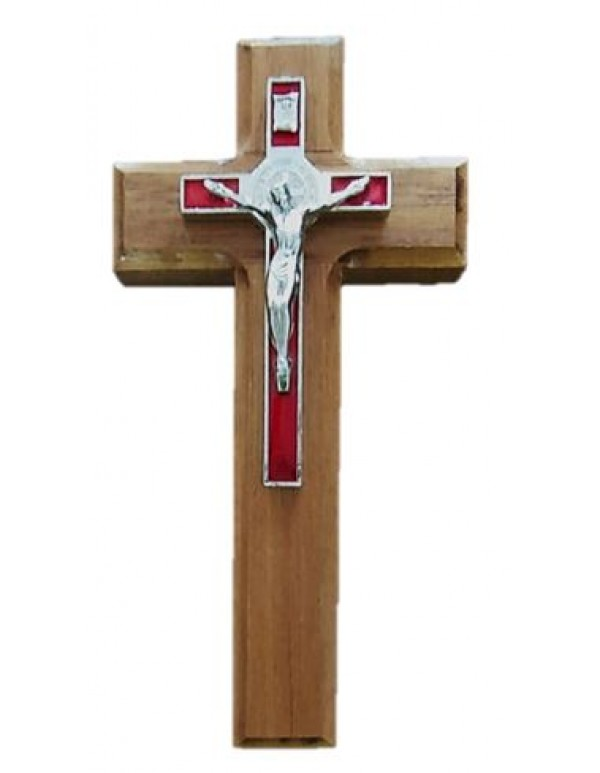 16cm St Benedict Metal crucifix on Wooden Cross - Various Colours Available