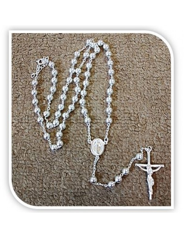 4mm Sterling Silver Rosary with Miraculous Medal Centre