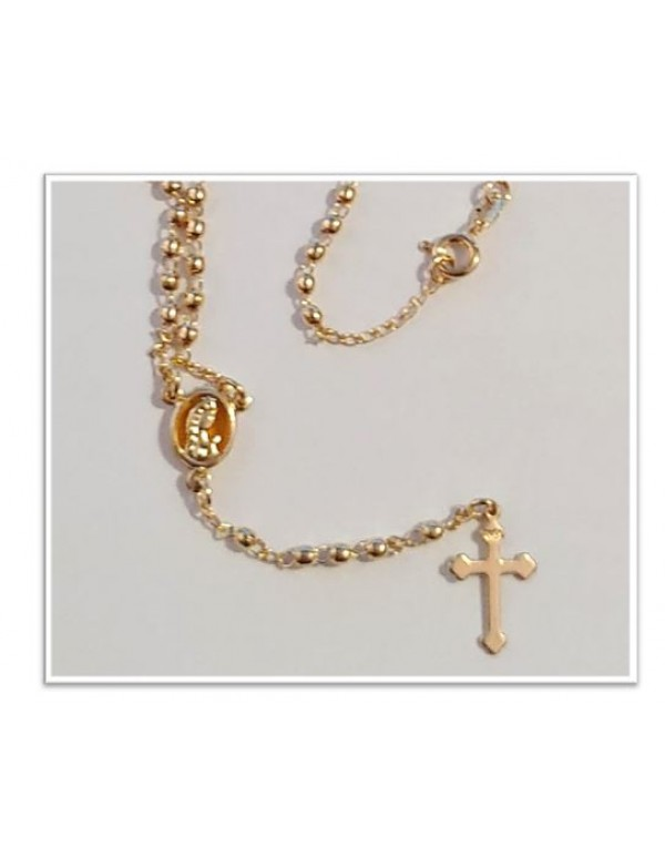 18kt gold filled Rosary - Our Lady Amber Center