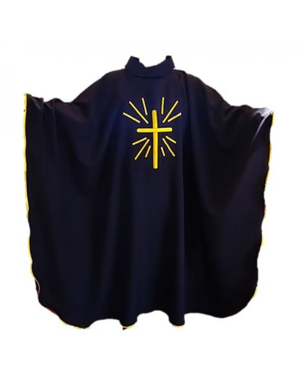 Black Chasuble & Stole with Golden Ray Embroidery Cross