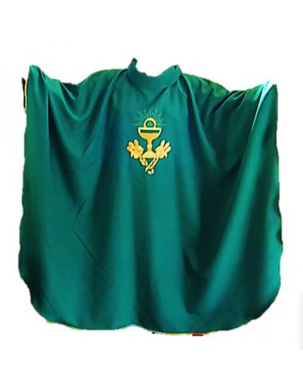 Green Chasuble & Stole with Golden enbroidered Chalice, Eucharist & Wheat
