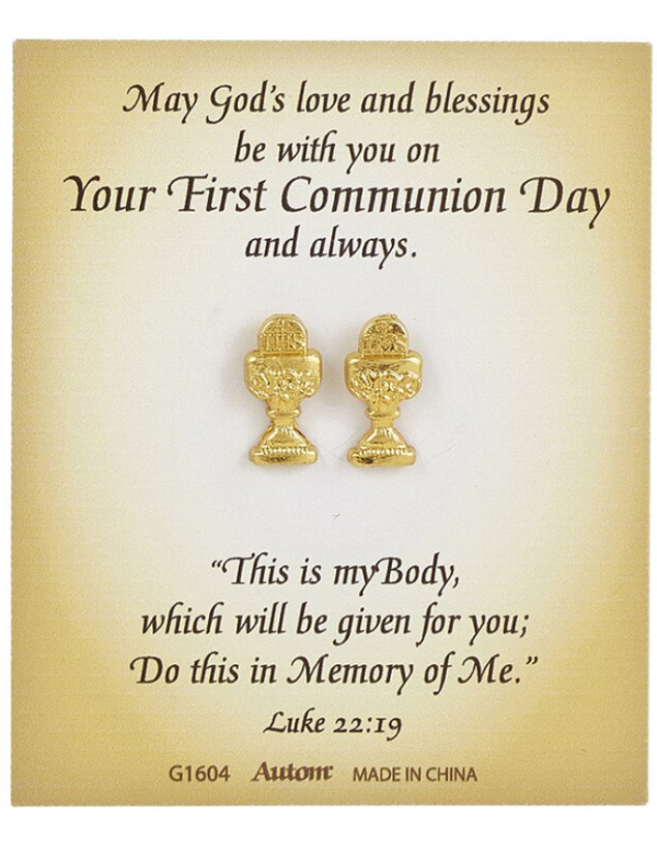 Eternal Salvation First Communion Chalice Earrings