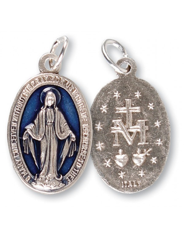 20mm Miraculous Medal with Royal blue enamel inlay