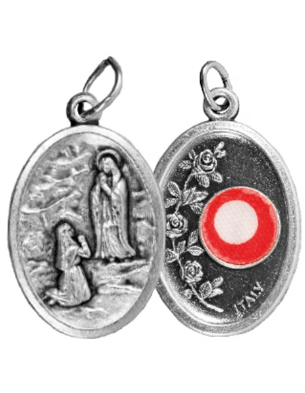 2.4cm - 3rd Class Relic Medal - Our Lady of Lourdes & Bernadette Soubirous