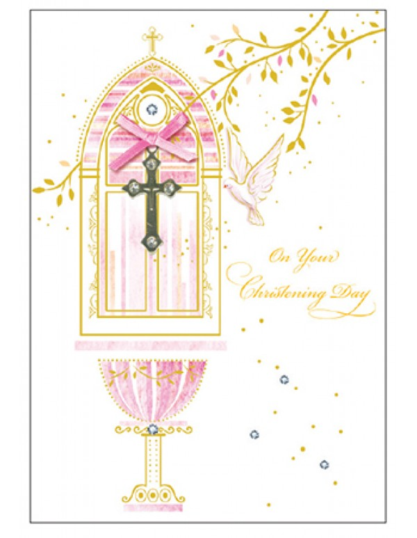 On your Christening Day - Girl/Pink