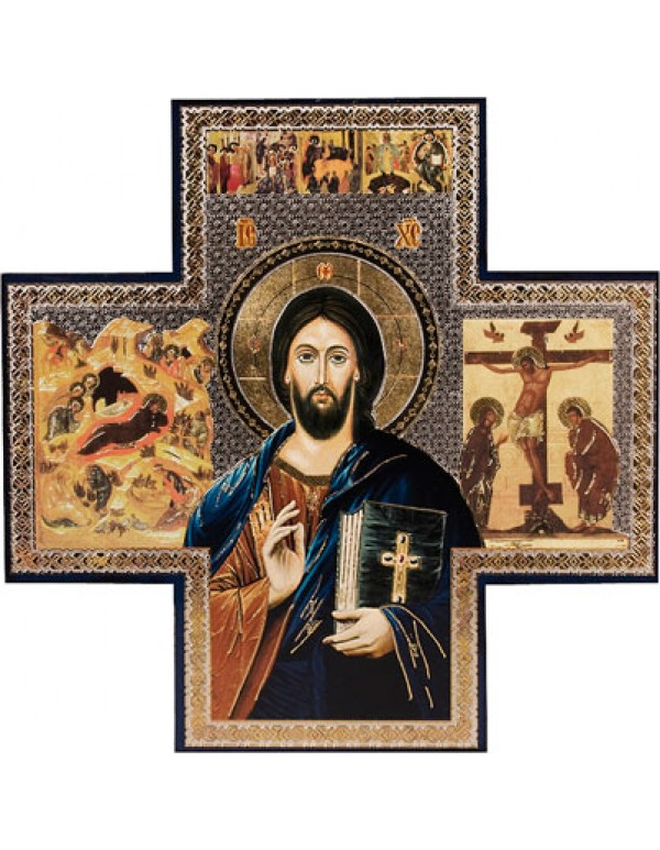 Icon Cross - Christ the Teacher - 15cm X 15cm