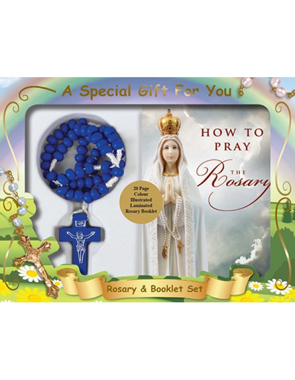 Blue Wooden Cord Rosary With Rosary Booklet Gift Box