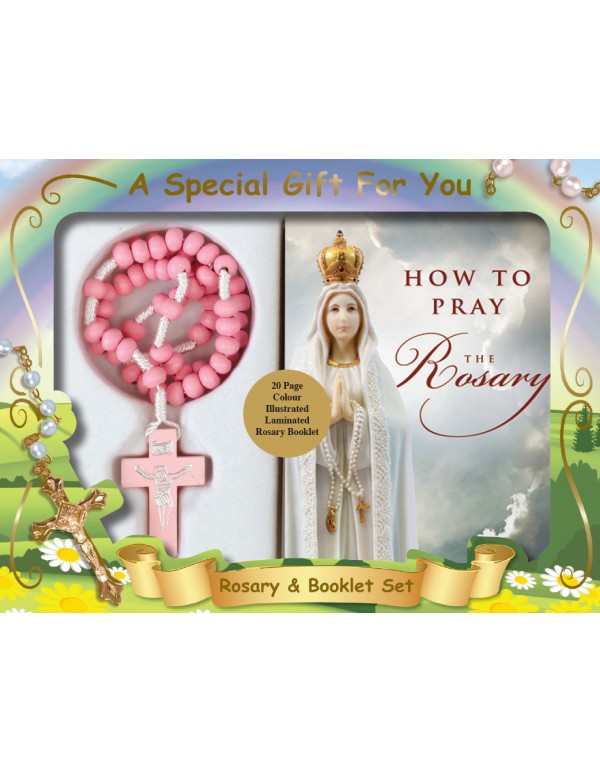 Pink Wooden Cord Rosary With Rosary Booklet Gift Box