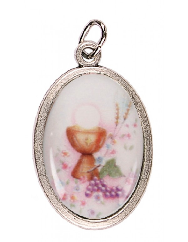 First Holy Communion Medal - Chalice, grapes & Eucharist