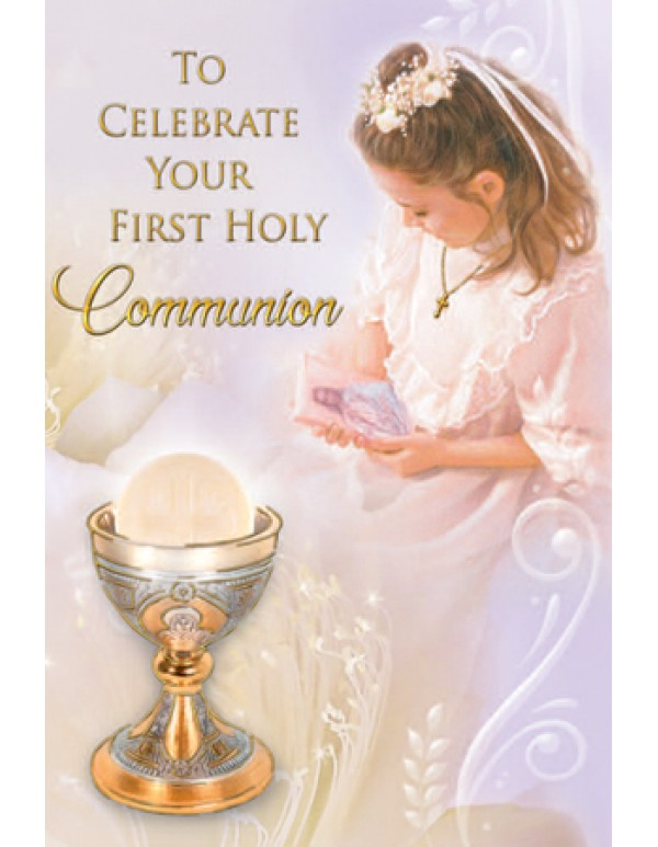 To Celebrate your First Holy Communion greeting card - Girl