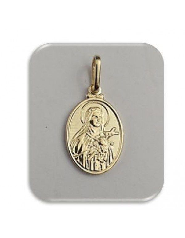 18mm St Therese  - The Little Flower - 18kt gold filled pendant