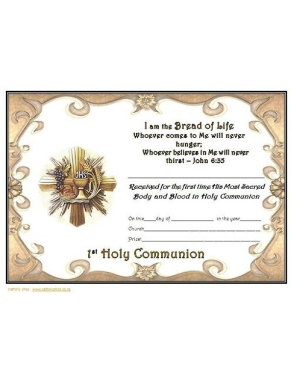I am the Bread of Life - 1st Holy Communion Certificate