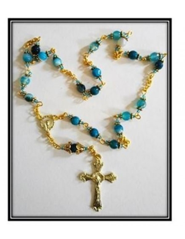 Peace Chaplet in gold - Blue Agate