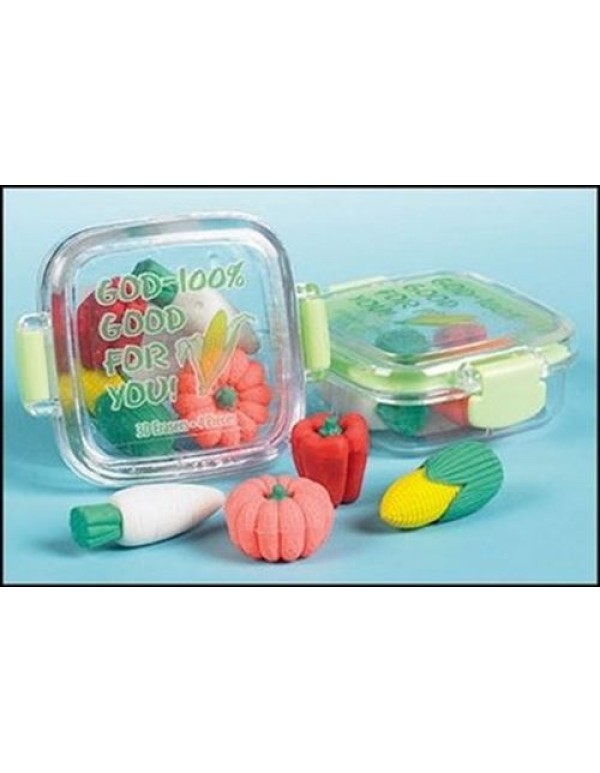 Veggies - 3D - God - 100% Good for you  Erasers in container