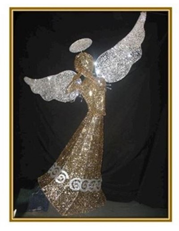 1 meter Standing Gold/Silver Glitter Angel with Twinkling lights