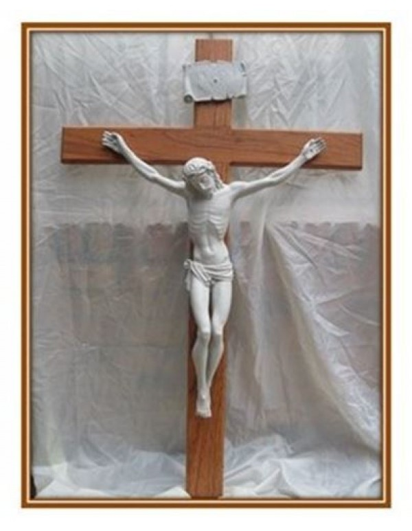 1.3 meter Rosewood Crucifix with Grey Marble Corpus
