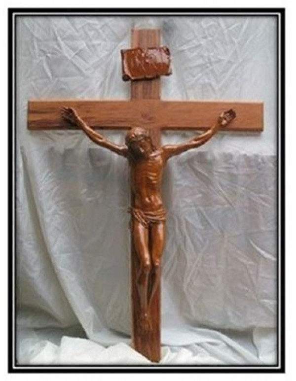 1.3meter Rosewood Crucifix with Brown Marble Corpus -ONE IN STOCK!