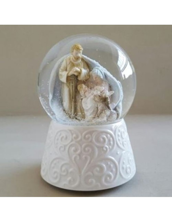 100mm Silent Night Glass Nativity Snow Ball