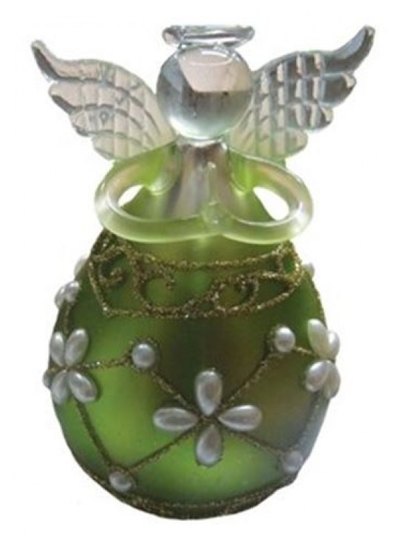 10cm Round Metallic Green Angel with faux pearls