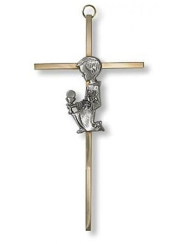18cm Cross with Kneeling Boy Holding Chalice & Eucharist