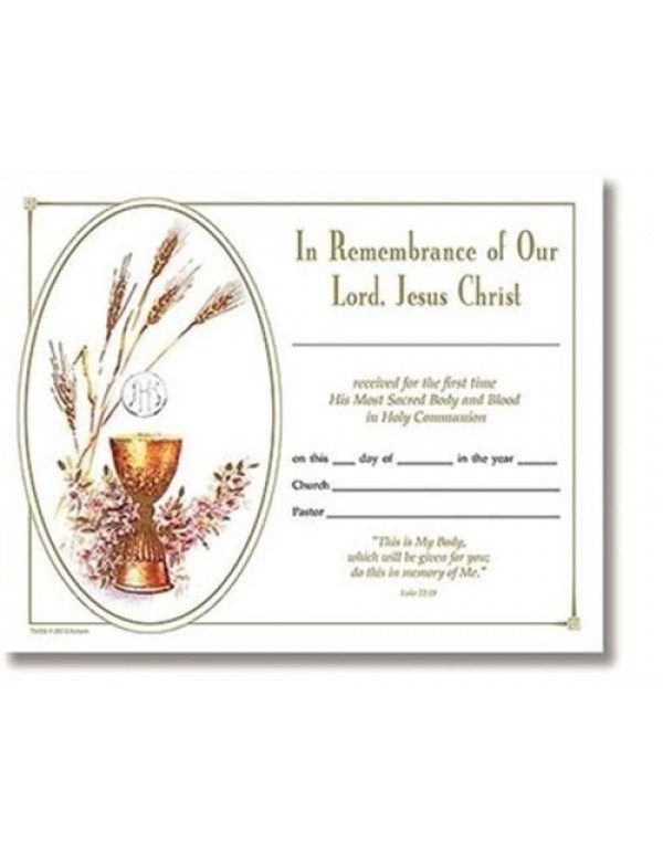 1st Holy Communion - In Remembrance of Our Lord, Jesus Christ - Certificate