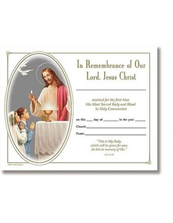 1st Holy Communion Certificate - In Remembrance of Our Lord, Jesus Christ