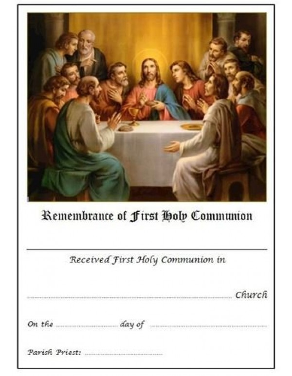 1st Holy Communion Certificate - Last Supper