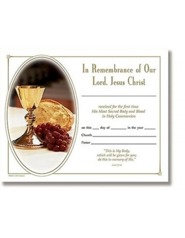 1st Holy Communion Certificate - In Remembrance